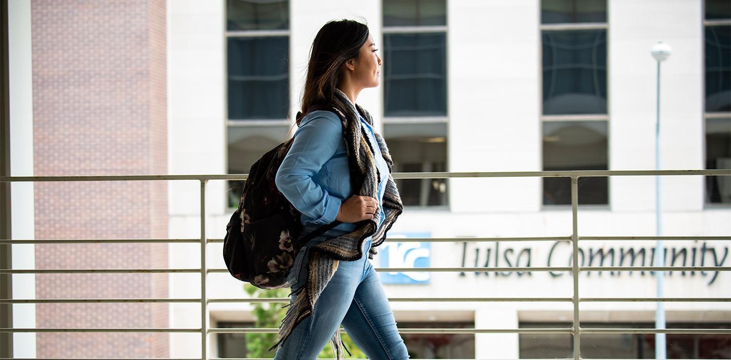 Student walking to class on the TCC Metro Campus